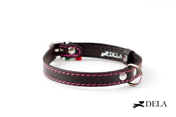 collare nero e rosa in vera pelle