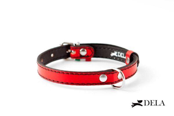 collare plain in vera pelle di colore rosso