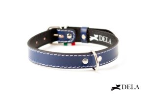 Collare Plain in pelle blu per cani