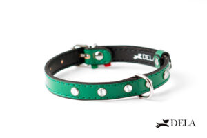 collare con strass in pelle verde