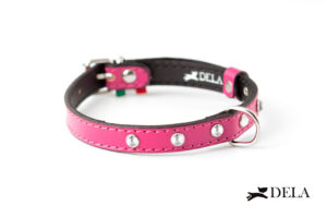 collare con strass in pelle fucsia