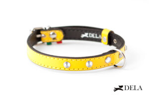 collare strass giallo in vera pelle