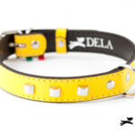 Collare Cylinder giallo in pelle