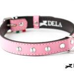 Collare di pelle rosa per cani
