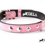 Collare Pyramid rosa con borchie