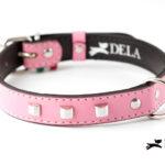 Collare Cylinder rosa con borchie in metallo
