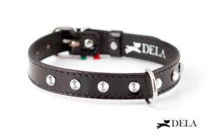 Collare di pelle nera con strass per cani di tutte le taglie
