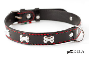 Collare Bone in pelle nera con cuciture rosse