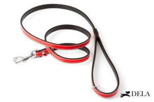 guinzaglio per cani in pelle di colore rosso