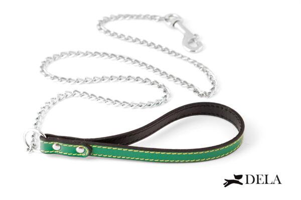 guinzaglio con catena e impugnatura in pelle verde