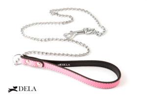 guinzaglio con catena e impugnatura in pelle rosa